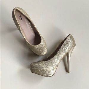 Mossimo | Gold Glitter Platform Stilettos | 7.5